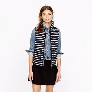 J. Crew Excursion Quilted Vest Navy Blue Striped